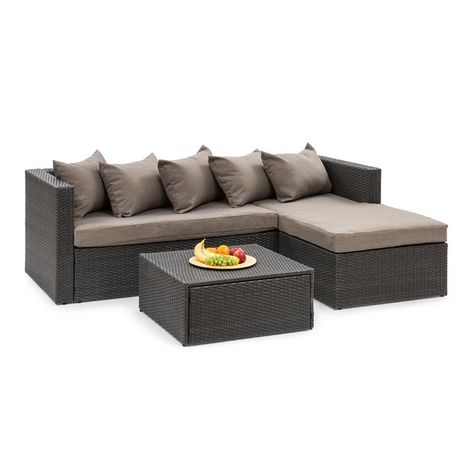 Blumfeldt Theia Lounge Set Garden Set Corner Couch Stool 5 Cushions Black
