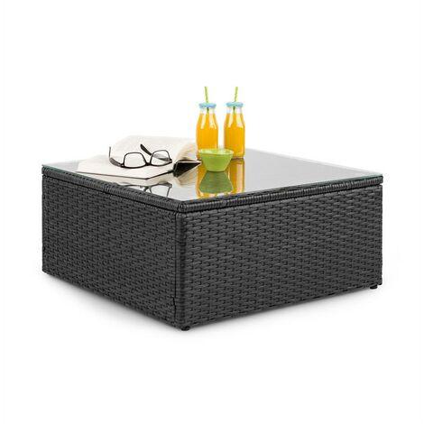 Blumfeldt Theia Table Lounge Table Polyrattan Glass Top Black