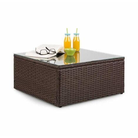 Blumfeldt Theia Table Lounge Table Polyrattan Glass Top Brown