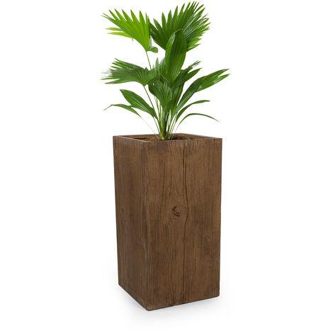 Blumfeldt Timberflor Plant Pot 40 x 80 x 40 cm Fiberglass Indoor / Outdoor Brown