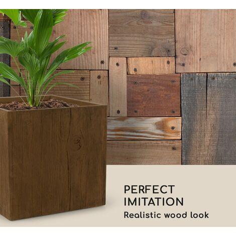 Blumfeldt Timberflor Plant Pot 55 x 50 x 55 cm Fiberglass Indoor / Outdoor Brown
