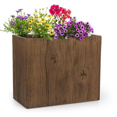 Blumfeldt Timberflor Plant Pot 60 x 50 x 30 cm Fiberglass Indoor / Outdoor Brown