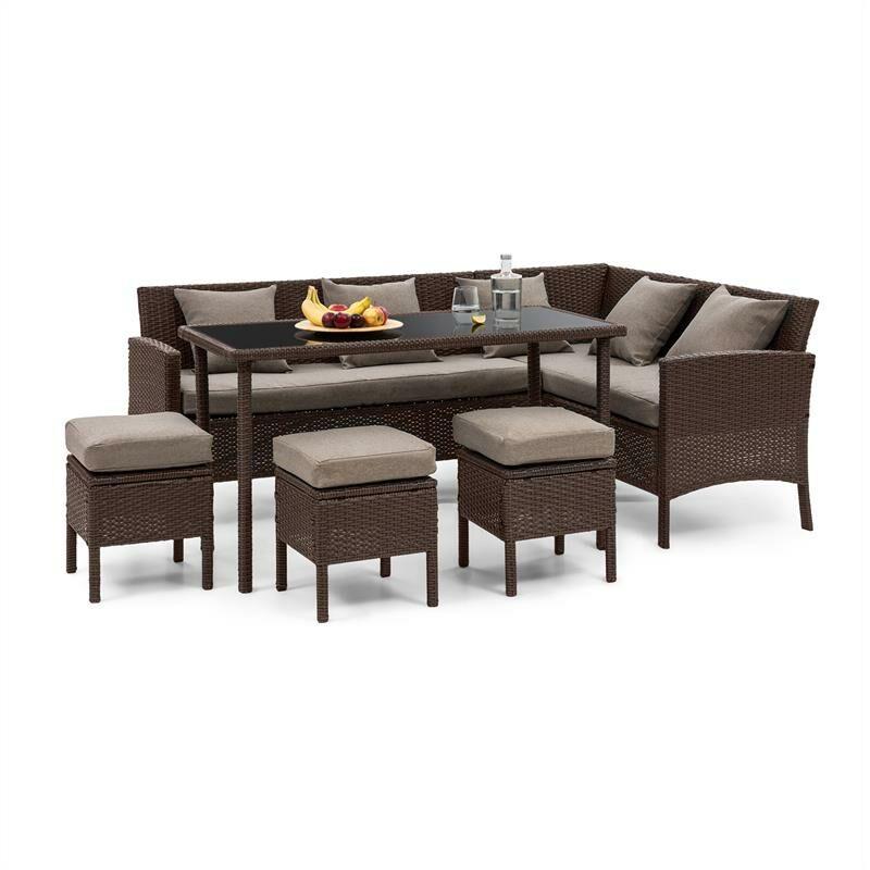 Blumfeldt - Titania Lounge Salon de jardin complet polyrotin marron