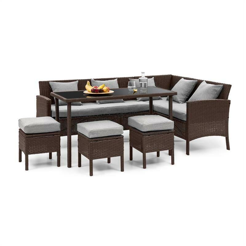 Blumfeldt - Titania Lounge Salon de jardin complet polyrotin marron & gris clair