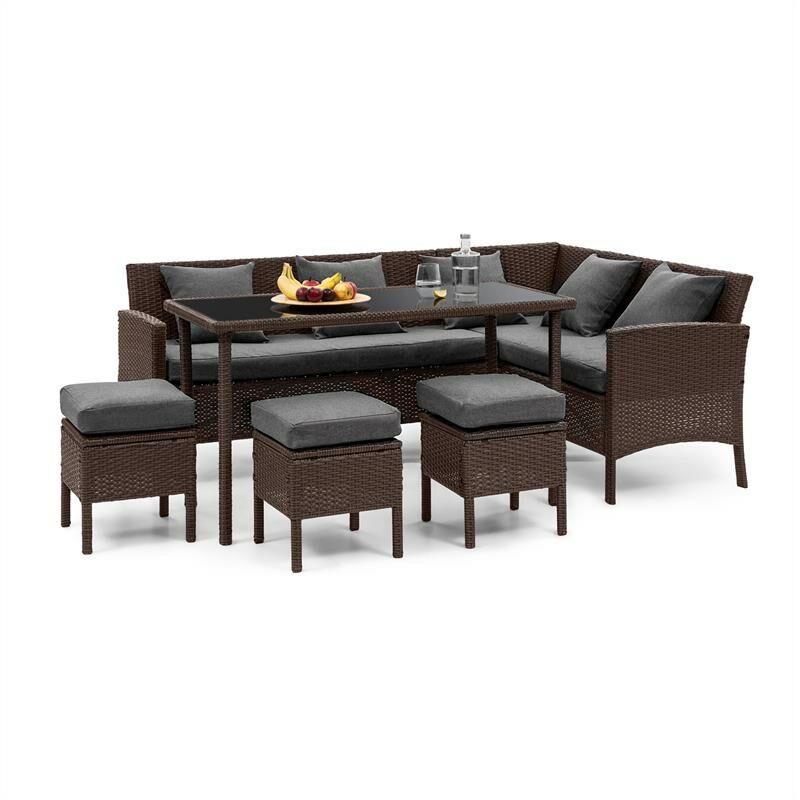 Blumfeldt - Titania Lounge Salon de jardin complet polyrotin marron & gris foncé