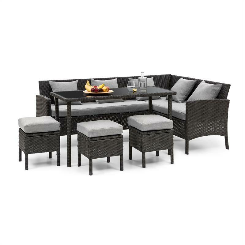 Blumfeldt - Titania Lounge Salon de jardin complet polyrotin noir & gris clair