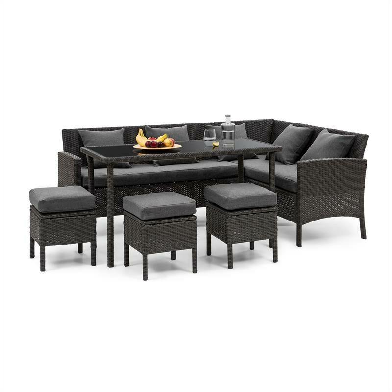 Blumfeldt - Titania Lounge Salon de jardin complet polyrotin noir & gris foncé