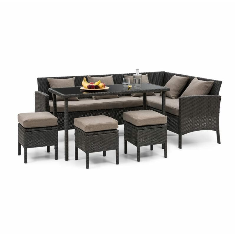 Blumfeldt - Titania Lounge Salon de jardin complet polyrotin noir & marron