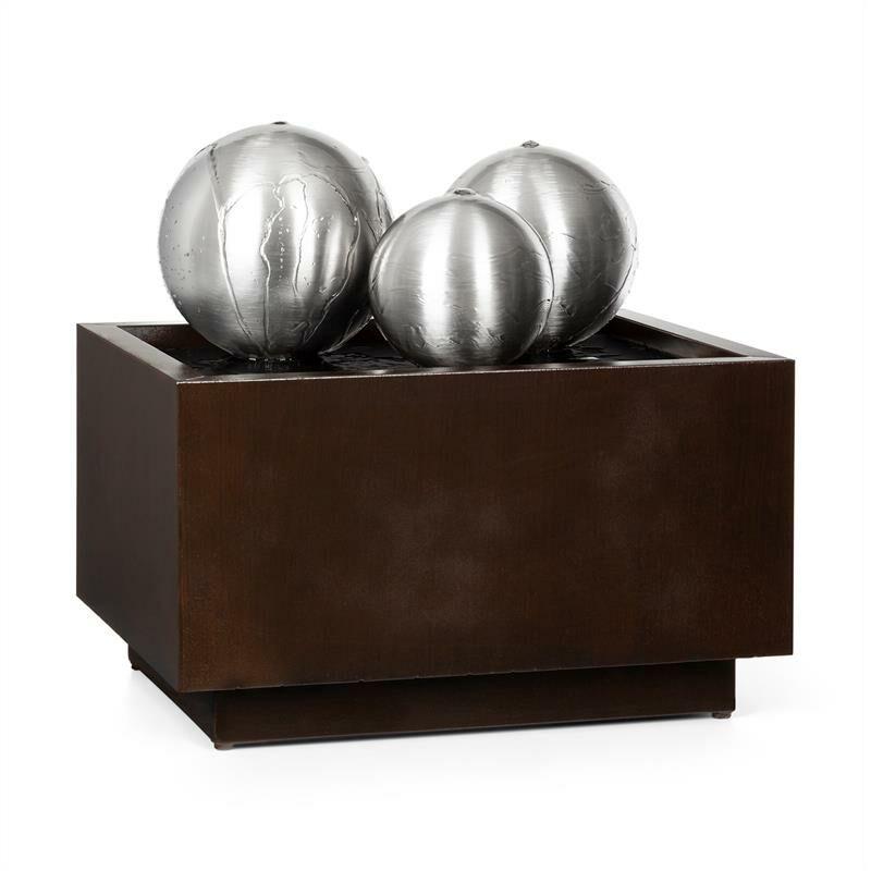 blumfeldt Triumvirat Fuente de jardín Fuente de interior LED metal galvanizado color marrón oscuro