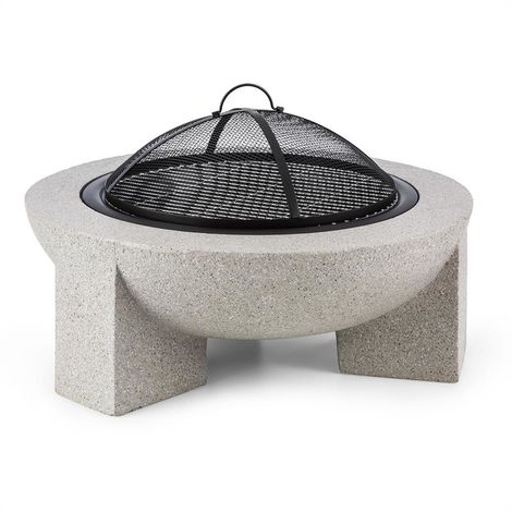 Blumfeldt Troja Fire Bowl 75cm Ø Hearth Grill Grate Steel MgO-Artificial Stone