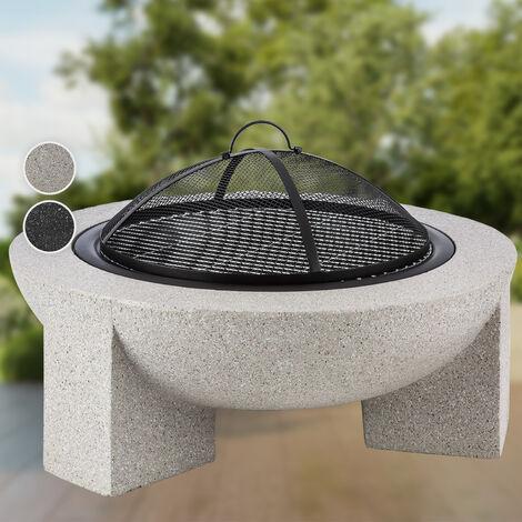 Blumfeldt Troja Fogata de leña hogar 75 cm Ø parrilla acero MgO piedra artificial