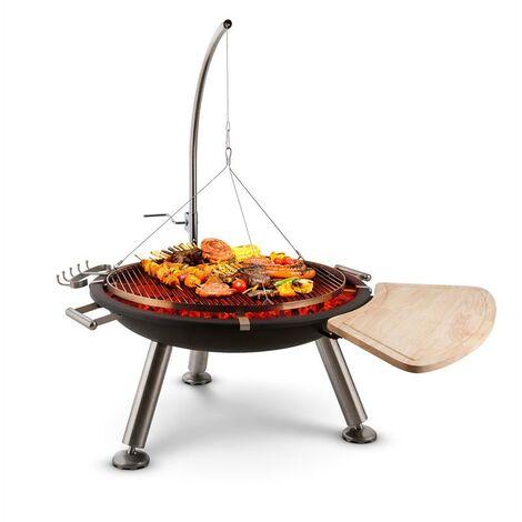 blumfeldt Turion Grill colgante base de fuego BBQ Carbón vegetal Tracción de cable Acero inox.