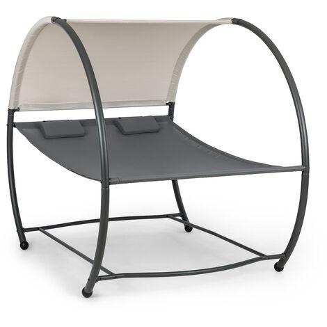 blumfeldt Umbria Hamaca doble independiente marco de acero cojines toldo color gris