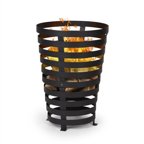 Blumfeldt Verus Fire Basket Made of Steel Stable Stance Robust Black