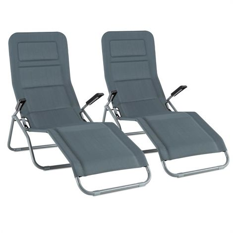 Blumfeldt Vitello Noble Grey Sunlounger set of 2 sunbeds dry foam grey