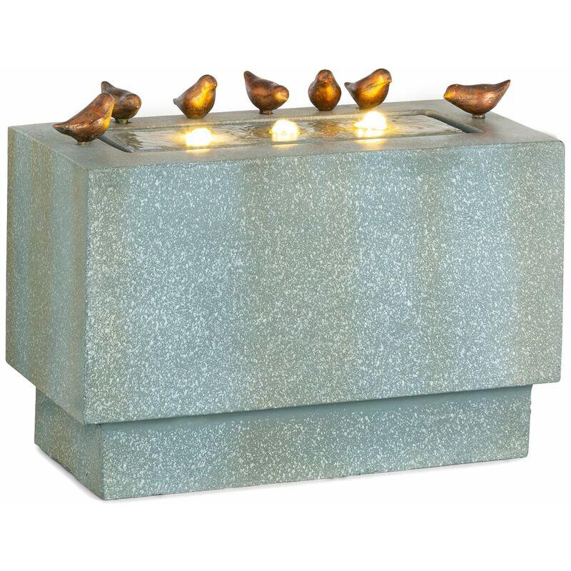 Waterbirds Fuente de jardín Led 60 x 47 x 30 cm Cemento Aluminio Gris