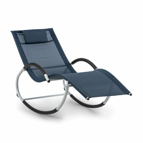 Blumfeldt Westwood Rocking Chair Fauteuil à bascule cadre aluminium bleu
