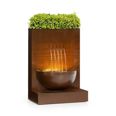 blumfeldt Windflower fontaine de jardin avec bac à plantes 11 W métal galvanisé marron