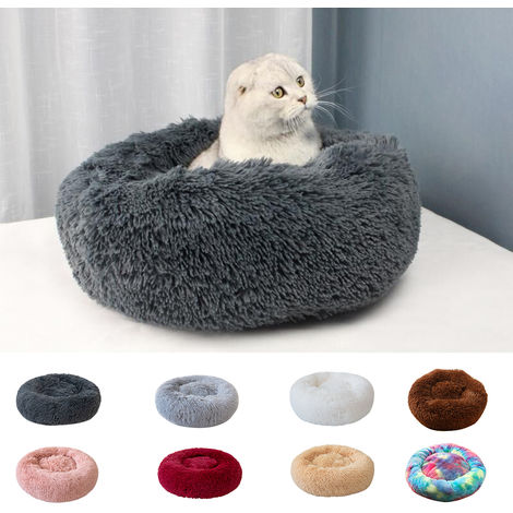 Blusea Soft Plush Round Pet Bed Cat Soft Bed Cat Bed for Cats Small Dogs