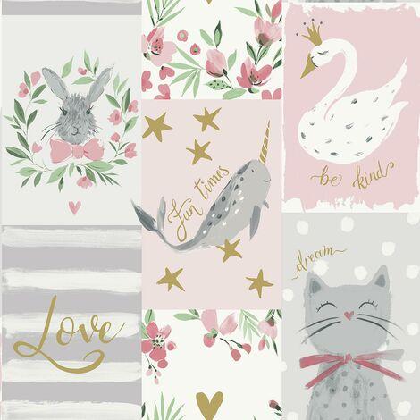 Blush Be Kind Wallpaper Belgravia Pink Gold Floral Animal Cats Kids Girls