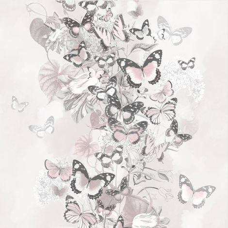 Blush Pink Grey Floral Butterfly Wallpaper Glitter Botanical Muriva Summertime