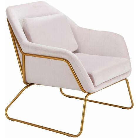 Blush Pink Velvet Upholstered Ella Accent Chair, W77xD73xH80 cm