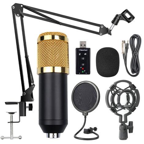 """main image of """"Ensemble de microphones d\'ancrage de chanson reseau BM-800 Carte son USB 35 Ensemble de microphones a condensateur net de prevention des eruptions de support, tete de maille noire a tube noir, emballage de boite de couleur, carte son noir / blanc expedie"""""""