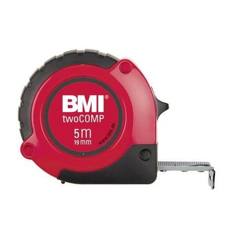 BMI 472341021 TWOCOMP MÈTRE À RUBAN DE POCHE, BLANC/NOIR/ROUGE, 3 M X 16 MM