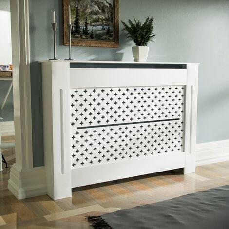 Boa 1120mm Medium MDF Wood Radiator Cover Flower Pattern Grill Matte White