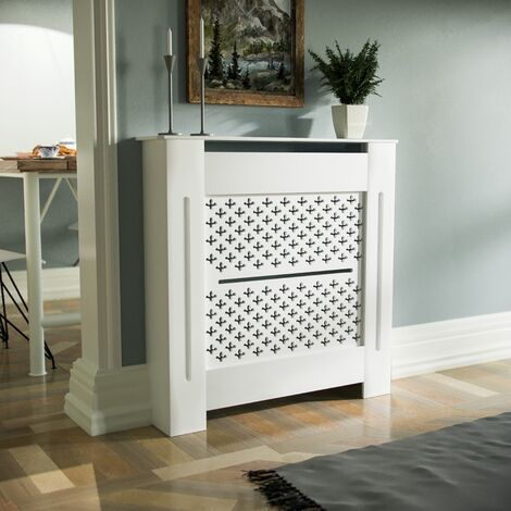 Boa 780mm Small MDF Wood Radiator Cover Cross Pattern Grill Matte White