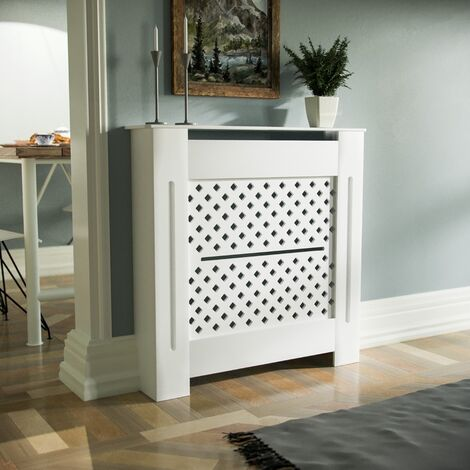 Boa 780mm Small MDF Wood Radiator Cover Diamond Grill Matte White