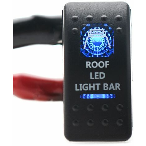 Boat Car Caravan Waterproof Red LED LED Rocker Switch 12V-24V SPST ON-OFF (Roof LED Light Bar)