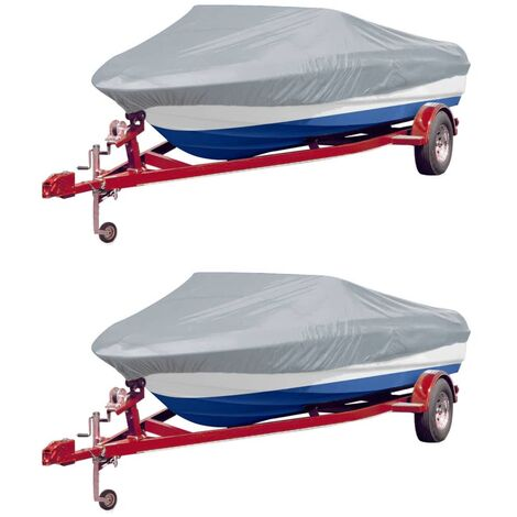 Boat Covers 2 pcs Grey Length 427-488 cm Width 229 cm