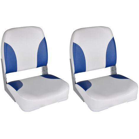 Boat Seats 2 pcs Foldable Backrest Blue-white Pillow 41x36x48cm