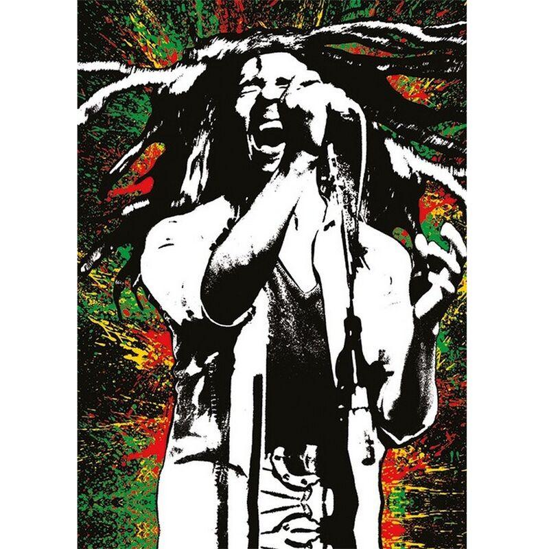 Image of Bob Marley Paint Postcard (A6) (Multicoloured)