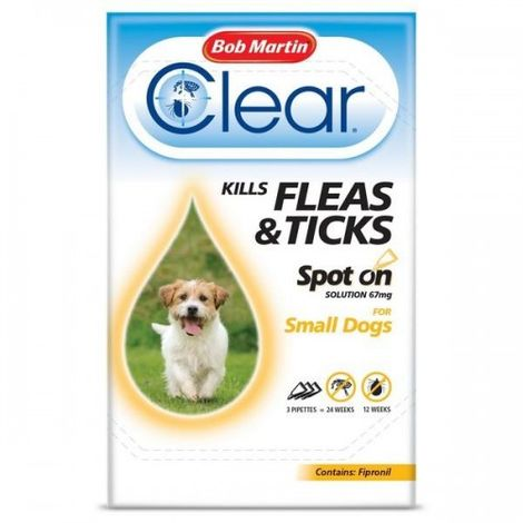 Bob Martin Clear Flea And Tick Spot On Liquid Drops For Small Dogs
