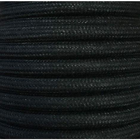 Bobina 15 metros cable textil decorativo negro liso algodón (CIR62AL03)