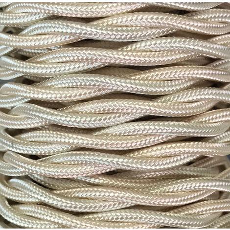 Bobina 15m. cable decorativo textil trenzado beige brillo (CABEXT2R03)