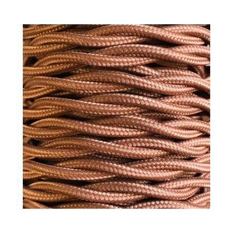 Bobina 15m. cable decorativo textil trenzado marrón (CABEXT2P14)