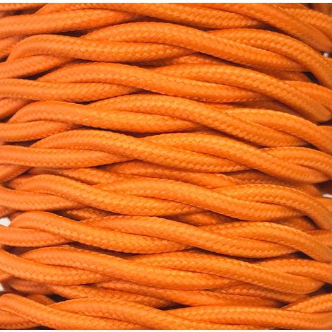 Bobina 15m. cable decorativo textil trenzado naranja mate (CABEXT2P14)