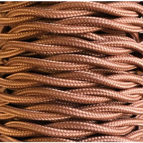 Bobina 25m. cable decorativo textil trenzado marrón (CABEXT2P14)