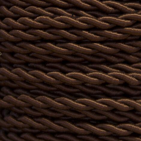 Bobina 25m. cable textil decorativo trenzado seda marrón 2x0,75mm.(Cordón D\'or 0901210-M)