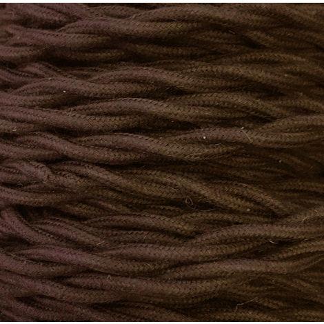 Bobina 50m. cable textil decorativo trenzado algodón marrón 2x1,5mm.(Cordón D\'or TRECCIA 2X1.5 MARRON)