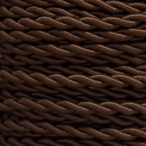Bobina 50m. cable textil decorativo trenzado seda marrón 2x0,75mm.(Cordón D\'or CAB00013020)