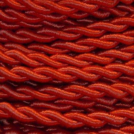Bobina 50m. cable textil decorativo trenzado seda rojo 2x0,75mm.(Cordón D\'or CAB00013062)