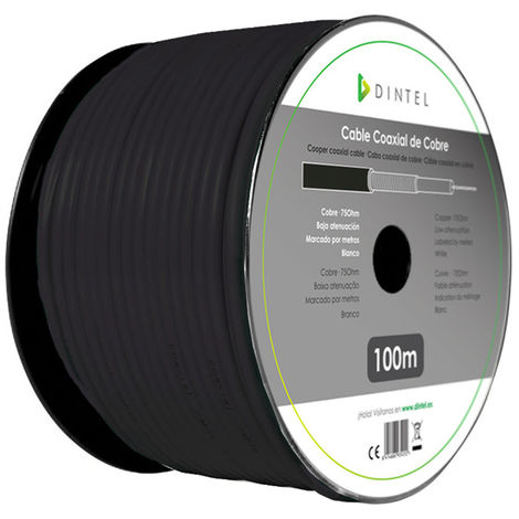 Bobina Cable Coaxial 100m Cobre Negro Dintel