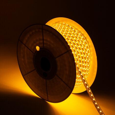Bobina de Tira LED Regulable 220V AC 60 LED/m 50m Amarillo IP65 Corte cada 100cm