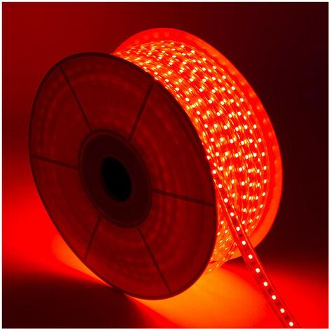 Bobina de Tira LED Regulable 220V AC 60 LED/m 50m Rojo IP65 Corte cada 100cm