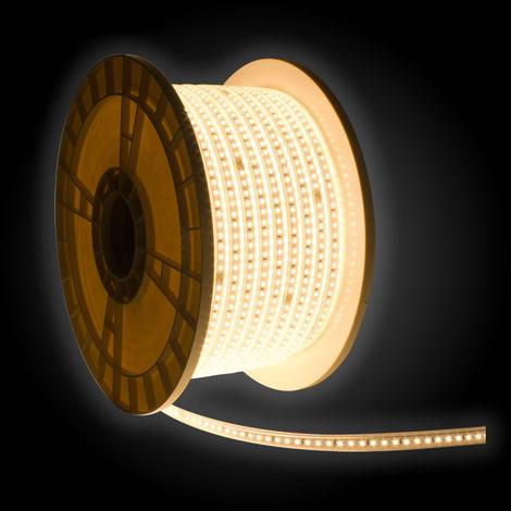 Bobina tira led 50 metros 2835 220v ip65 120 chips 9 w/m nav alta luminosidad