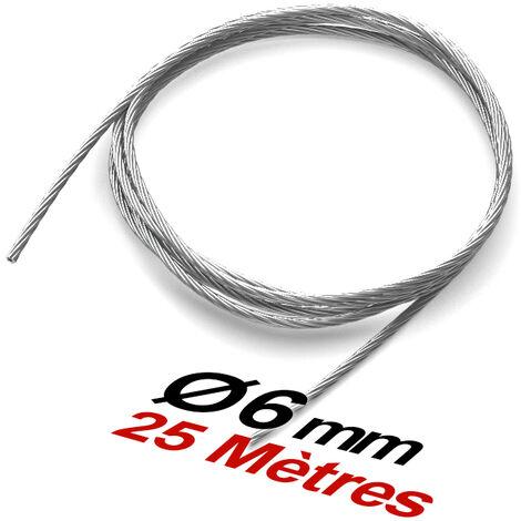 Bobine 25 m de Cable 6mm Inox 316